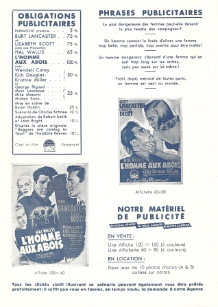 L'homme aux abois (Paramount, 1949). France DP. ©collection Jérôme Rouault