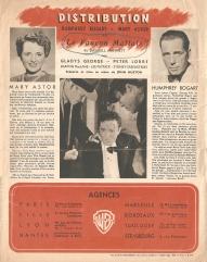 Le faucon Maltais (Warner Bros, 1945). France Scénario.