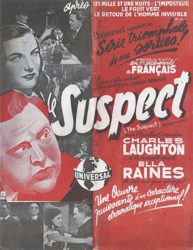 Le suspect (Universal, 1946). France Publicité.