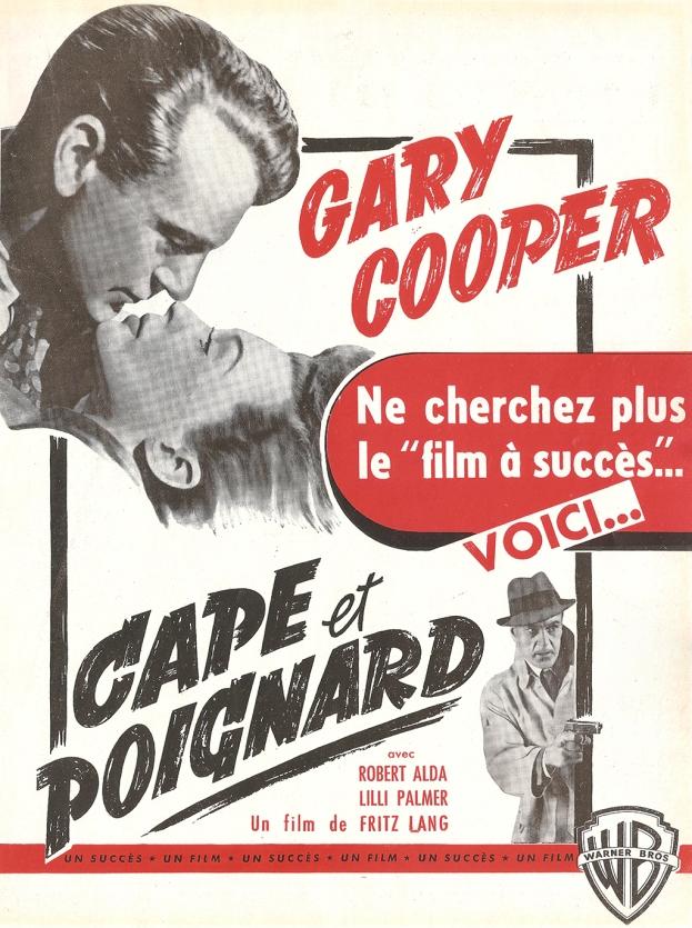 Cape et poignard (Warner Bros, 1947). France publicité.