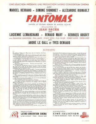 Fantômas (Ciné-sélection, 1947). France scénario. ©collection Jérôme Rouault
