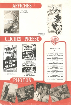 La peur au ventre (Warner Bros, 1956). France DP.