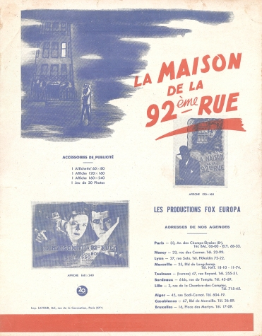 La maison de la 92ème rue (20th Century Fox, 1946). France DP.