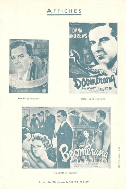 Boomerang (20th Cetury Fox, 1947). France DP.