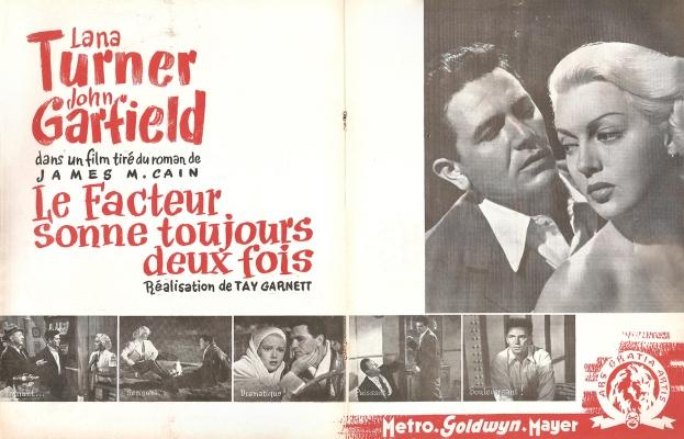Le facteur sonne toujours deux fois(MGM, 1947). France publicité.