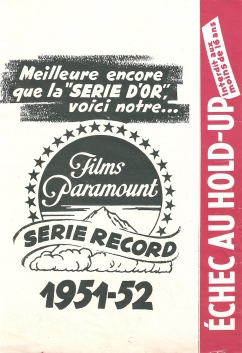 Échec au hold-up (Paramount, 1952). France DP.