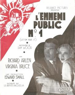 L'ennemi public N1 (Artistes Associés, 1935). France DP.
