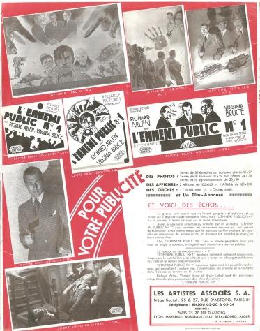 L'ennemi public N°1 (Artistes Associés, 1935). France DP.