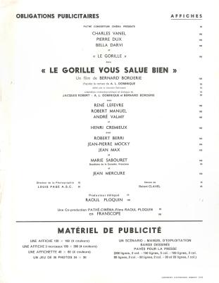 Le gorille vous salue bien (Pathé, 1958). France manuel.